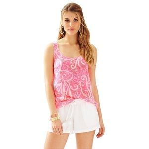 Lilly Pulitzer 100% Silk Pink Pout Cosmos Tank Top